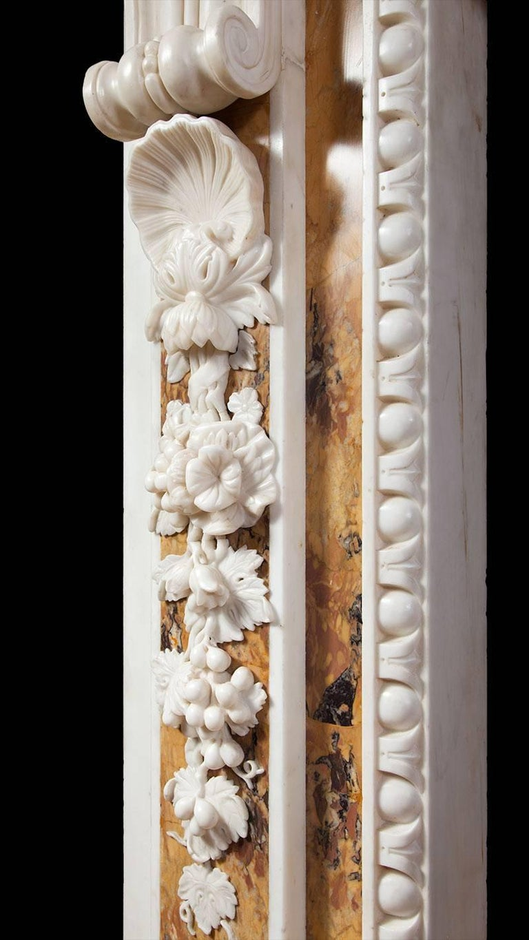Carved Georgian Sienna Fireplace For Sale