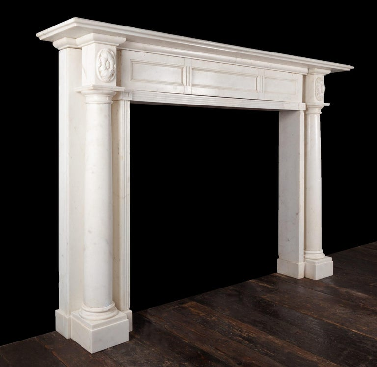 Carved Regency Marble Fireplace For Sale