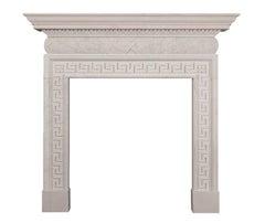 Hand-carved English Portland Stone Fireplace