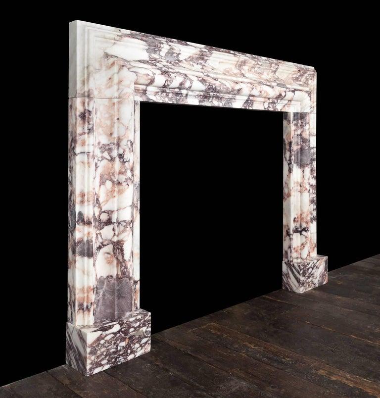 Northern Irish Ryan & Smith Breccia Violetta Bolection Fireplace For Sale