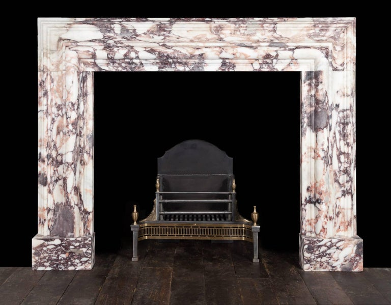 Carved Ryan & Smith Breccia Violetta Bolection Fireplace For Sale