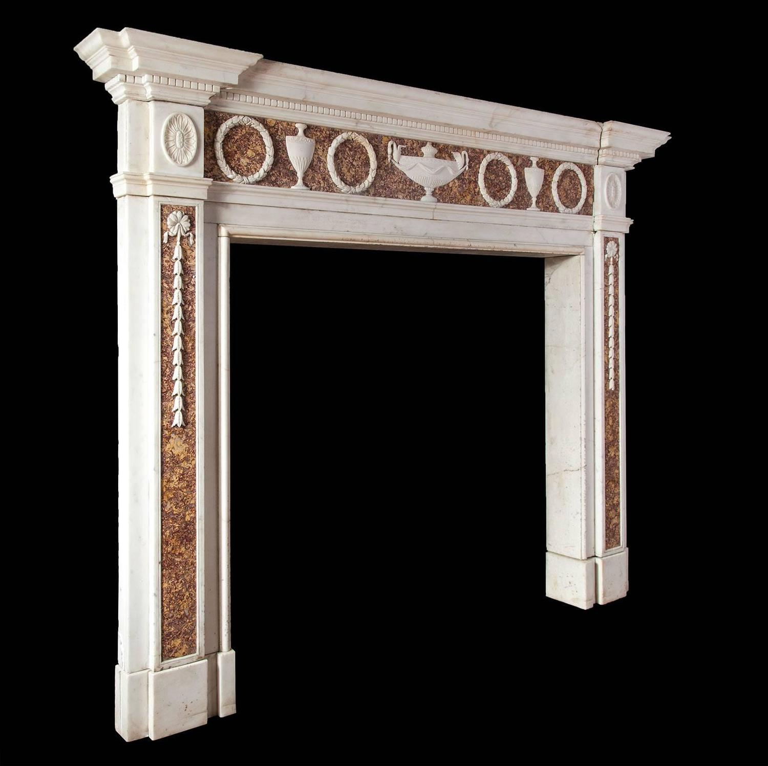 Adam style antique marble fireplace for sale at 1stdibs for Marble mantels for sale