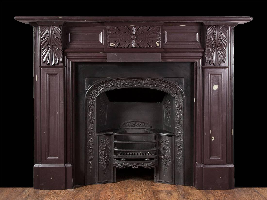 carved antique welsh heather slate fireplace for sale at 1stdibs. Black Bedroom Furniture Sets. Home Design Ideas