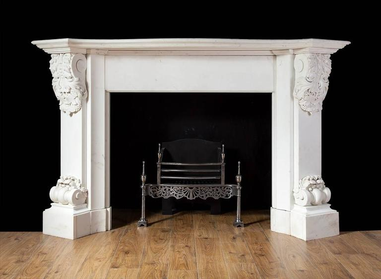 Antique carved white statuary marble fireplace for sale at for Marble mantels for sale