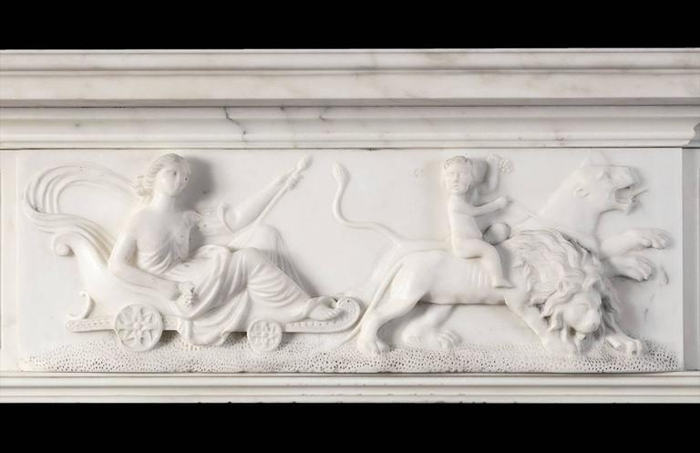 British Antique Regency Statuary Marble Fireplace For Sale
