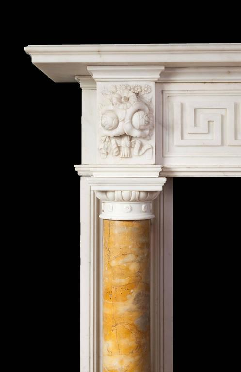Carved Antique Regency Statuary Marble Fireplace For Sale