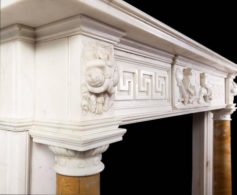 19th Century Antique Regency Statuary Marble Fireplace For Sale