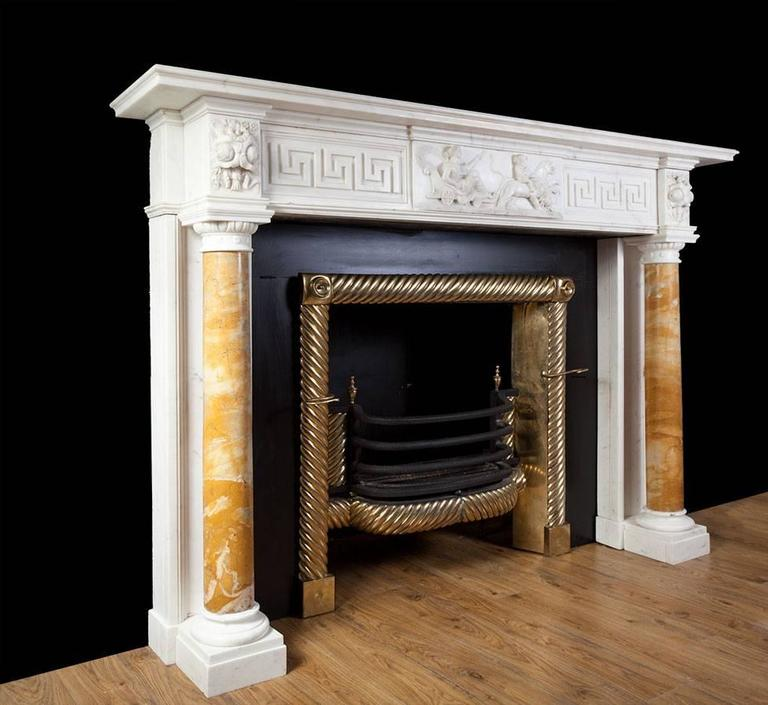 Siena Marble Antique Regency Statuary Marble Fireplace For Sale