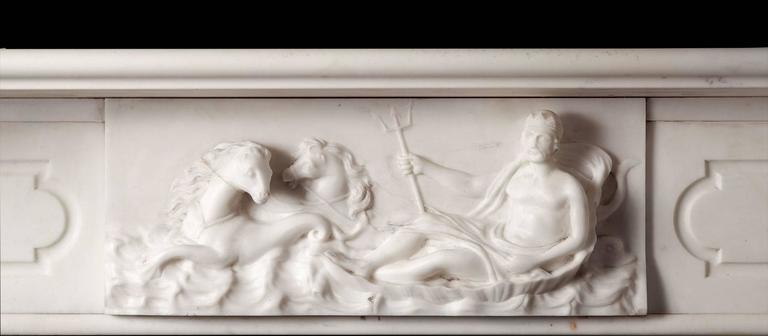Early Victorian Antique Irish Marble Fireplace For Sale