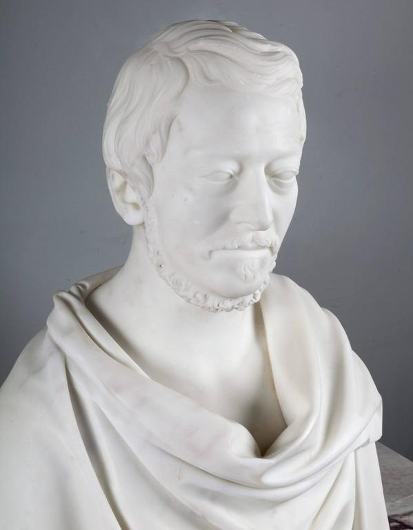 Antique Carrara Marble Bust In Excellent Condition For Sale In Tyrone, Northern Ireland