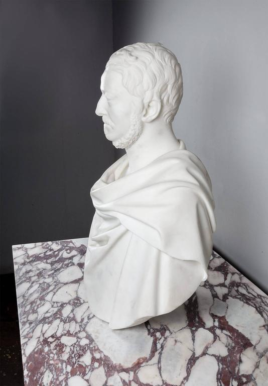 19th Century Antique Carrara Marble Bust For Sale