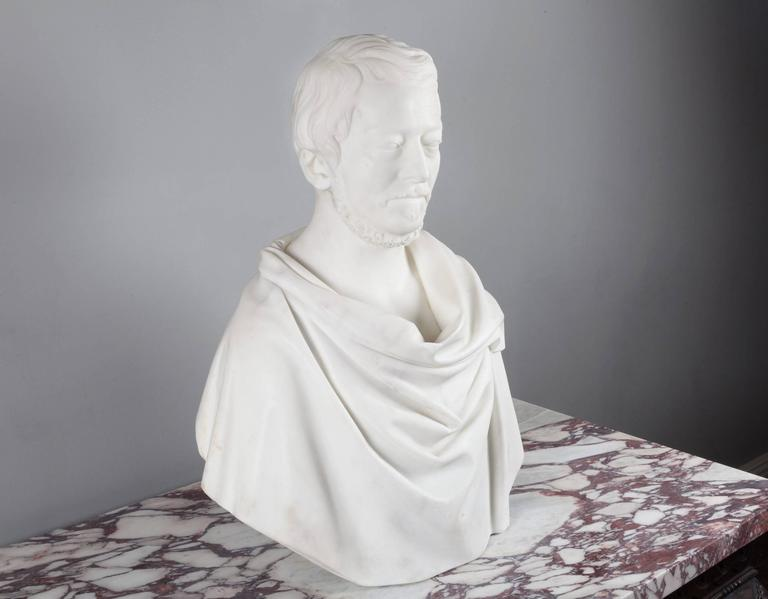 Carved Antique Carrara Marble Bust For Sale