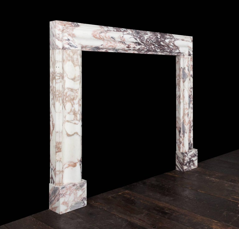 Northern Irish Breccia Medici Marble Bolection Fireplace For Sale