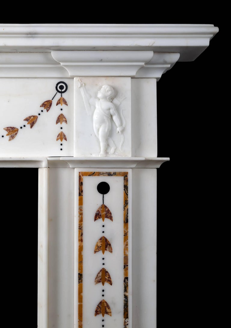 Carved Irish Georgian Marble Fireplace For Sale