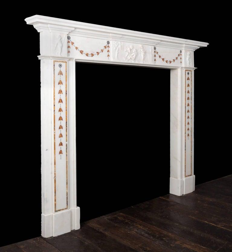 Carrara Marble Irish Georgian Marble Fireplace For Sale