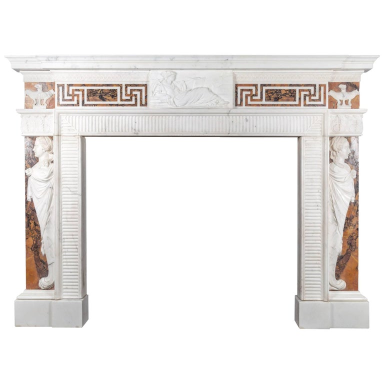 George III Neoclassical Statuary and Sienna Marble Fireplace