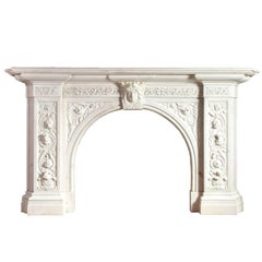 Antique English Carved Statuary Marble Mantelpiece