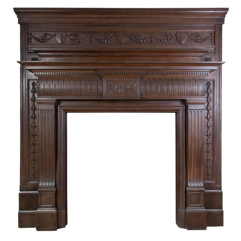 Carved Wooden Antique Mantelpiece