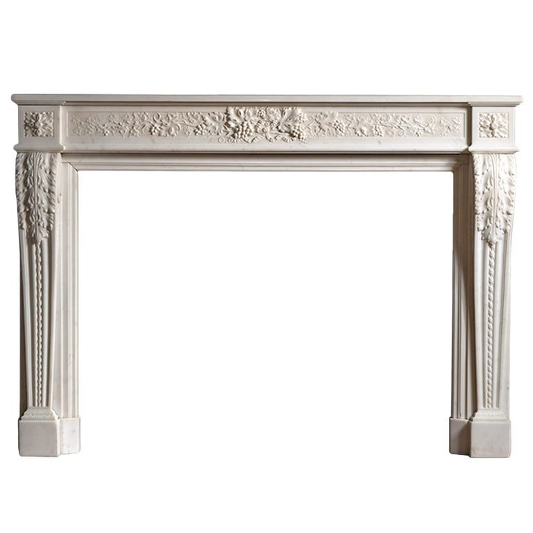 French Louis XVI Style Marble Fireplace For Sale