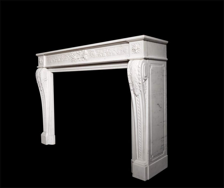Carved French Louis XVI Style Marble Fireplace For Sale