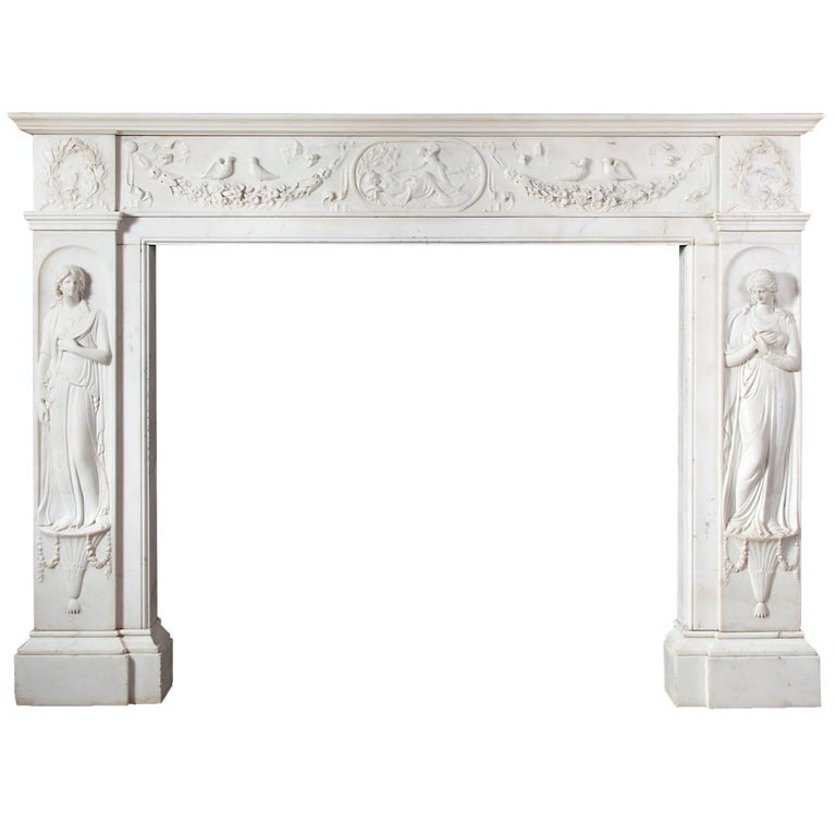 Regency Fireplace Executed in Italian Statuary Marble For Sale