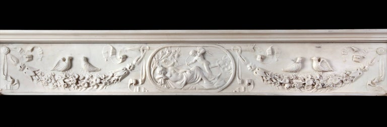Carved Regency Fireplace Executed in Italian Statuary Marble For Sale
