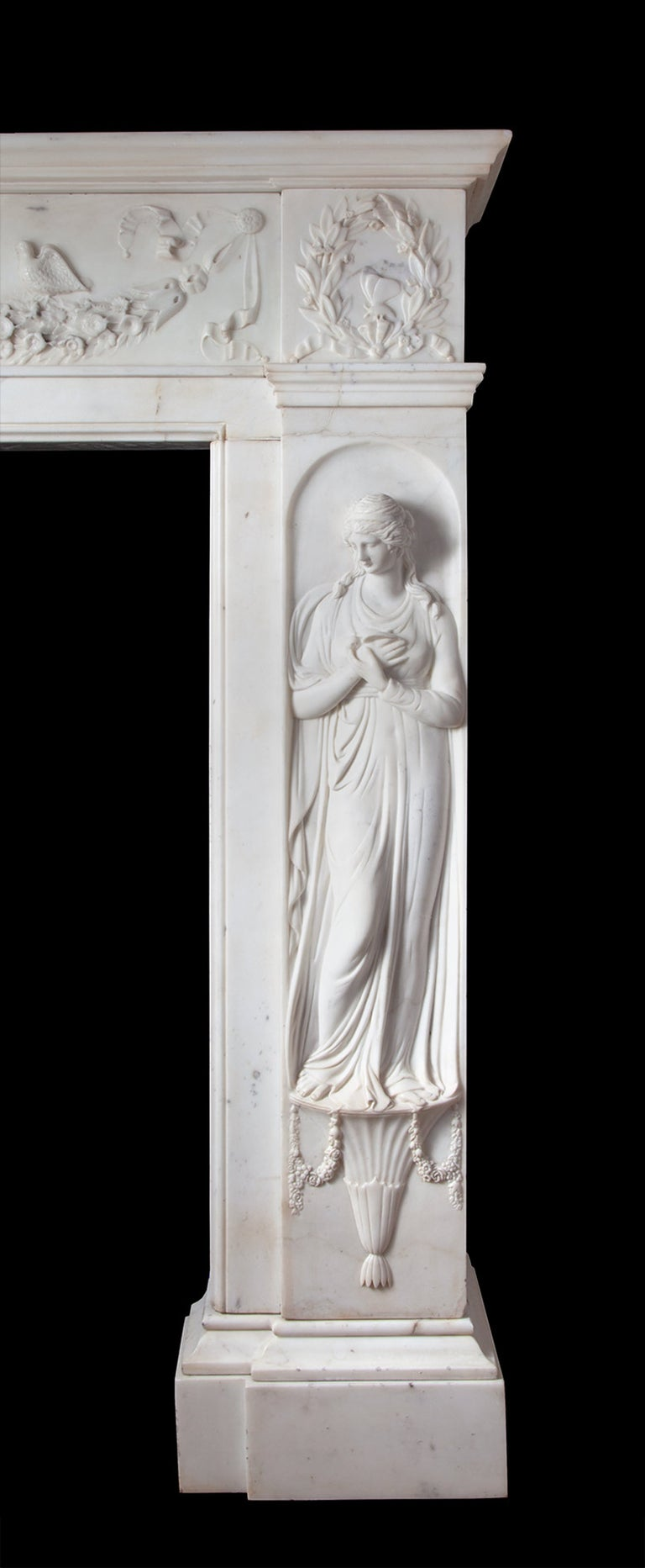 Regency Fireplace Executed in Italian Statuary Marble In Good Condition For Sale In Tyrone, Northern Ireland