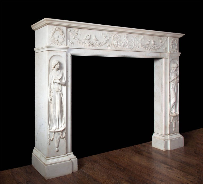 19th Century Regency Fireplace Executed in Italian Statuary Marble For Sale