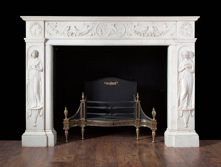 Regency Fireplace Executed in Italian Statuary Marble For Sale 1