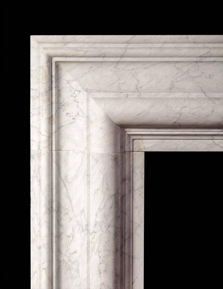 Baroque Ryan & Smith Carrara Marble Bolection Mantel For Sale