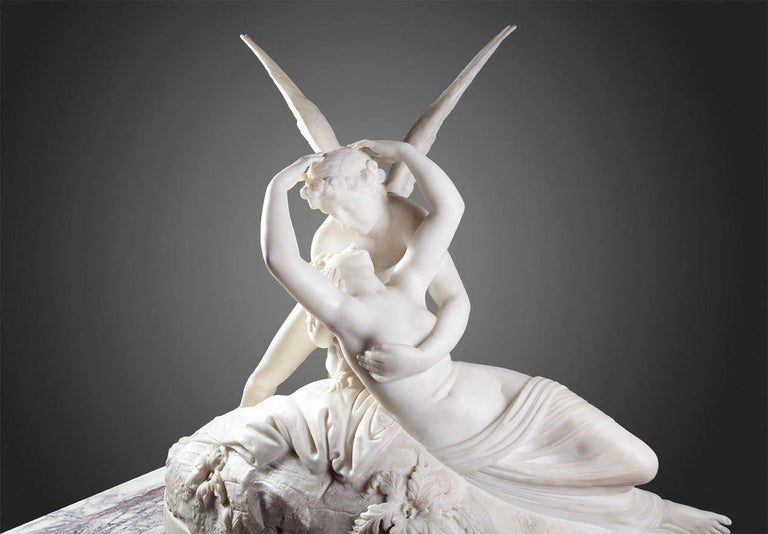 Psyche revived by Cupid's kiss. After Canova. Beautifully carved in fine statuary marble.