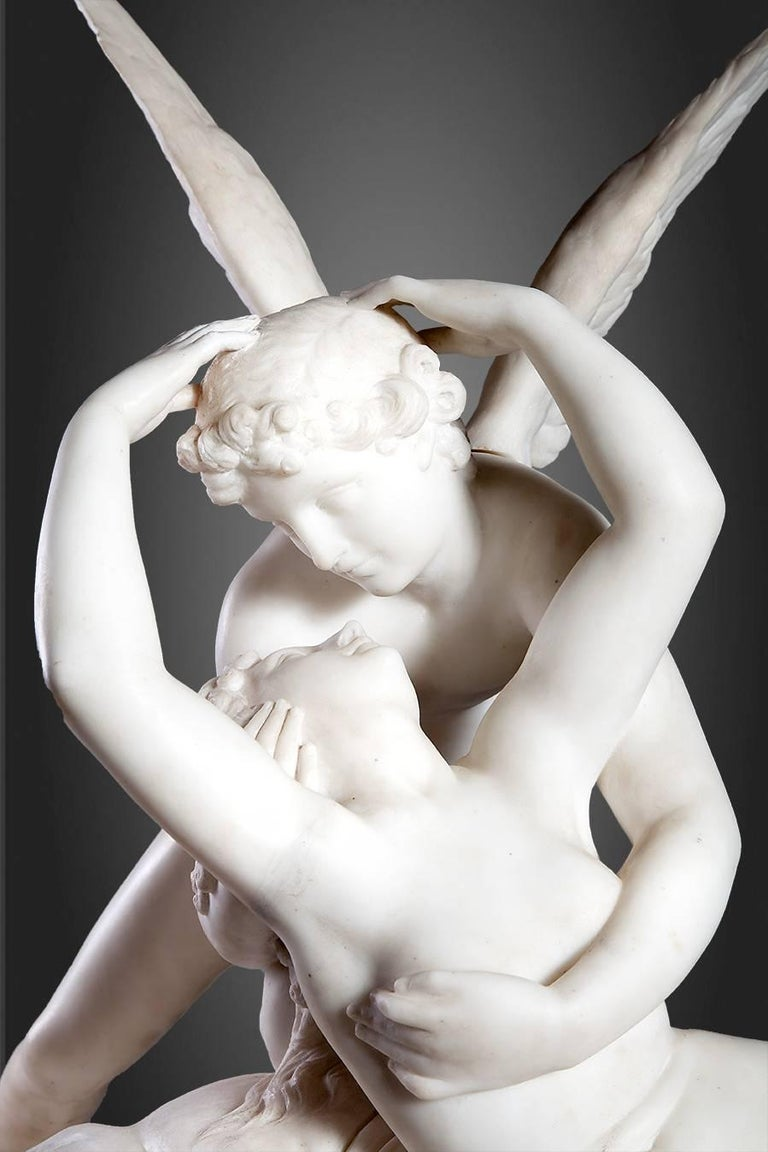 Italian Psyche Revived by Cupid's Kiss Sculpture For Sale