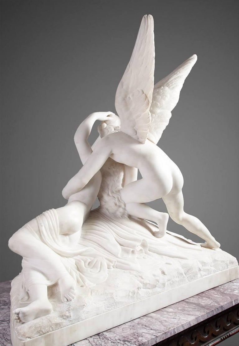 Carved Psyche Revived by Cupid's Kiss Sculpture For Sale