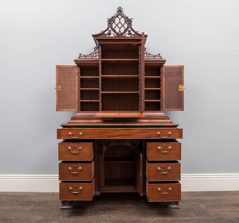 An 18th century mahogany dressing chest with bookcase and writing surface, designed by Thomas Chippendale. An attractive, practical and compact piece of English Georgian furniture in wonderful country house condition. See additional images for