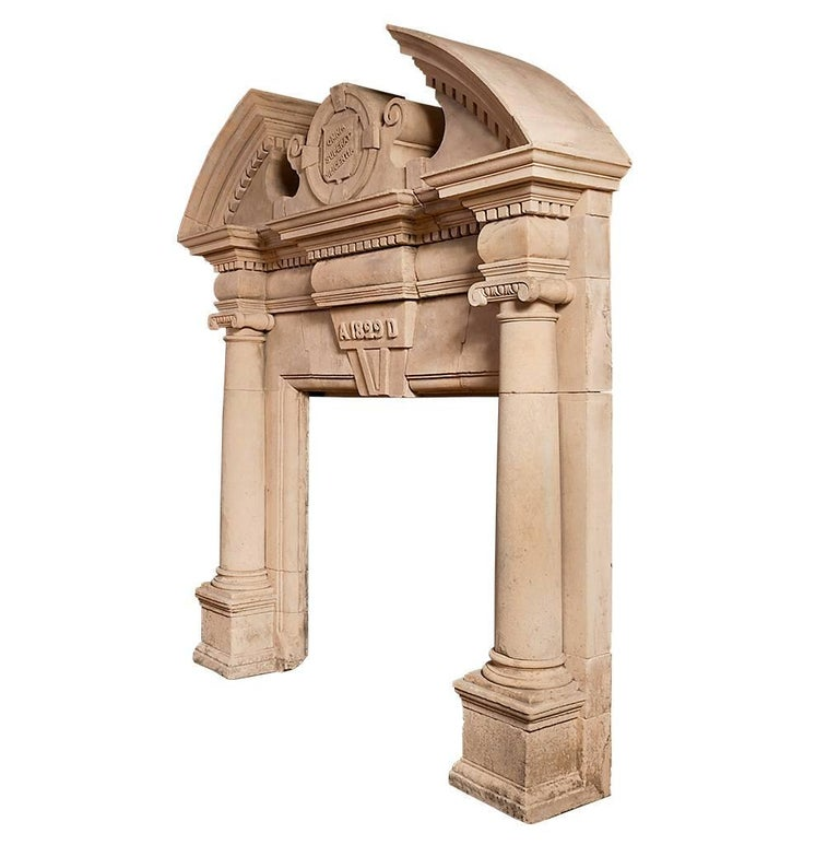 Baroque Revival English Coade Stone Antique Chimneypiece For Sale