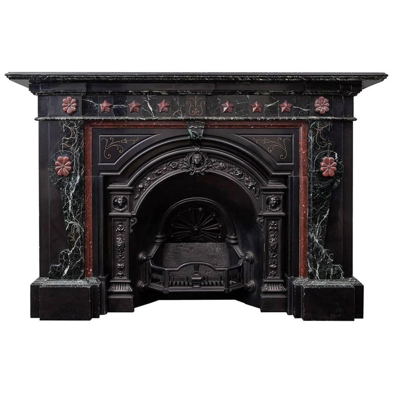Victorian Marble Fireplace and Cast Iron Insert For Sale
