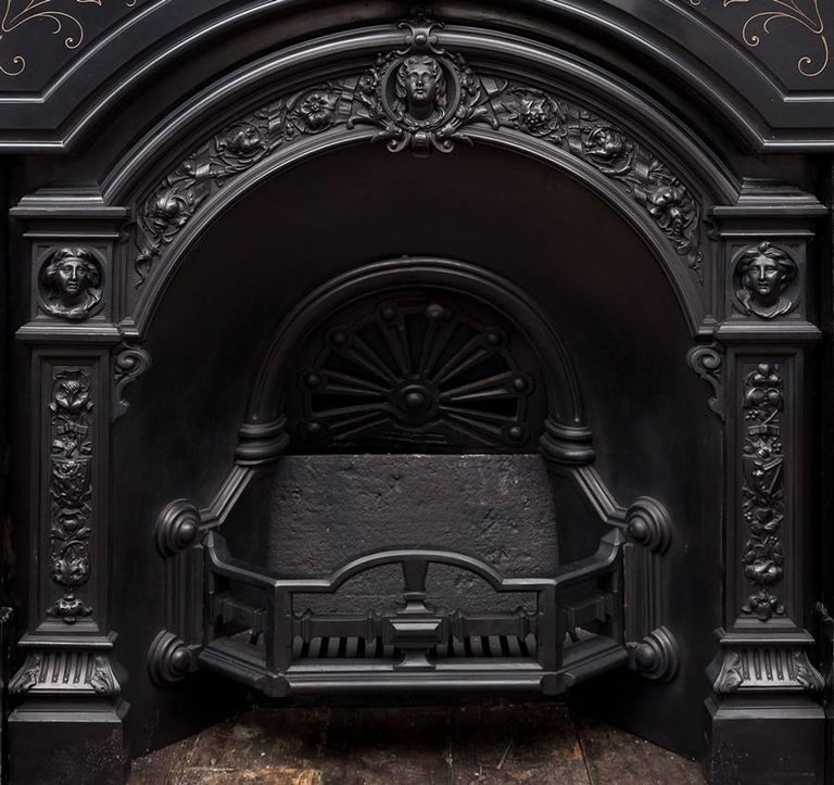 Carved Victorian Marble Fireplace and Cast Iron Insert For Sale
