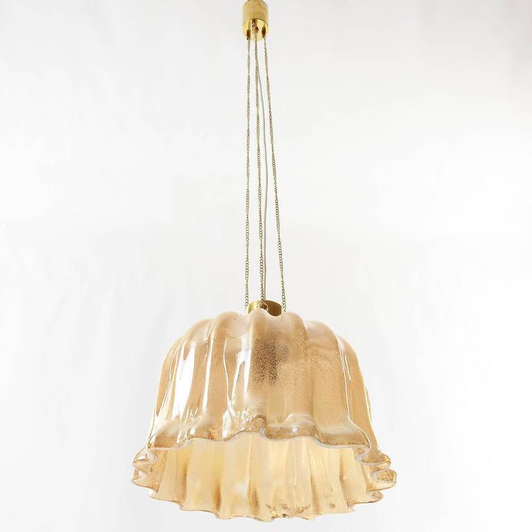 Barovier (attr.) Pendant Light, Amber Tone Murano Glass, 1960s 2