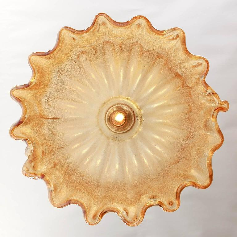 Barovier (attr.) Pendant Light, Amber Tone Murano Glass, 1960s 7
