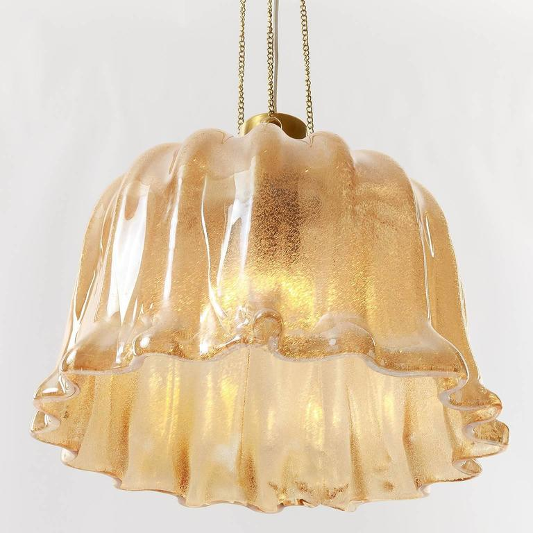 Barovier (attr.) Pendant Light, Amber Tone Murano Glass, 1960s 6
