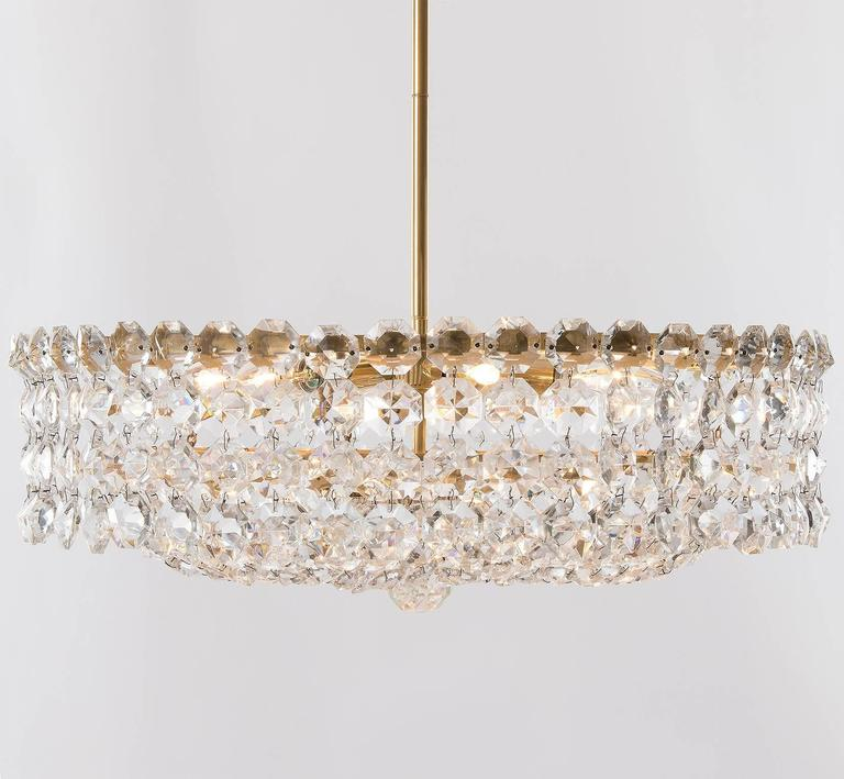 20th Century Bakalowits Chandelier, Crystal Glass and Gilt Brass, Austria, 1960s, 1 of 2 For Sale