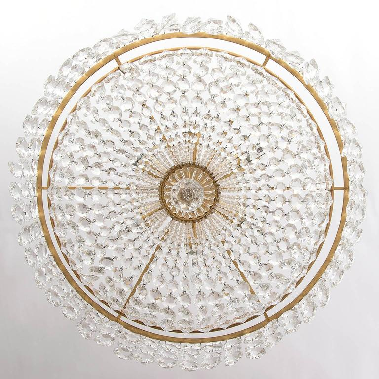 Austrian Bakalowits Chandelier, Crystal Glass and Gilt Brass, Austria, 1960s, 1 of 2 For Sale