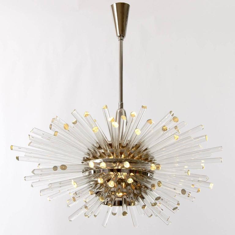 Polished Bakalowits Sputnik Chandelier 'Miracle', Nickel Glass Rods, 1970 For Sale