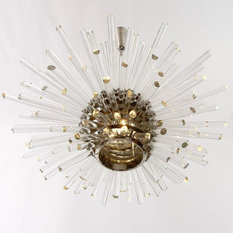 Bakalowits Sputnik Chandelier 'Miracle', Nickel Glass Rods, 1970 In Excellent Condition For Sale In Vienna, AT