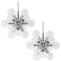 Pair Kalmar Sputnik Chandeliers or Pendant Lights 'RS 12', Aluminum Glass, 1970