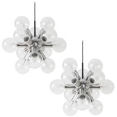 Two Kalmar Sputnik Chandeliers or Pendant Lights 'RS 12', Aluminum Glass, 1970