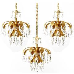 Three Palwa Pendant Lights, Gilt Brass Crystal Glass, 1960s