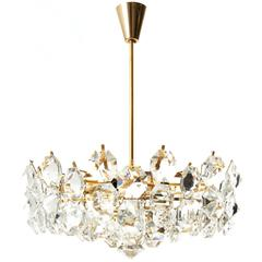 Bakalowits Style Chandelier, Gilt Brass and Crystal Glass, Austria, 1960s