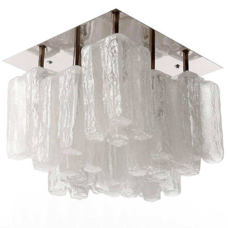 One of Nine Kalmar Flush Mount Lights 'Granada', Ice Glass and Nickel, 1970s