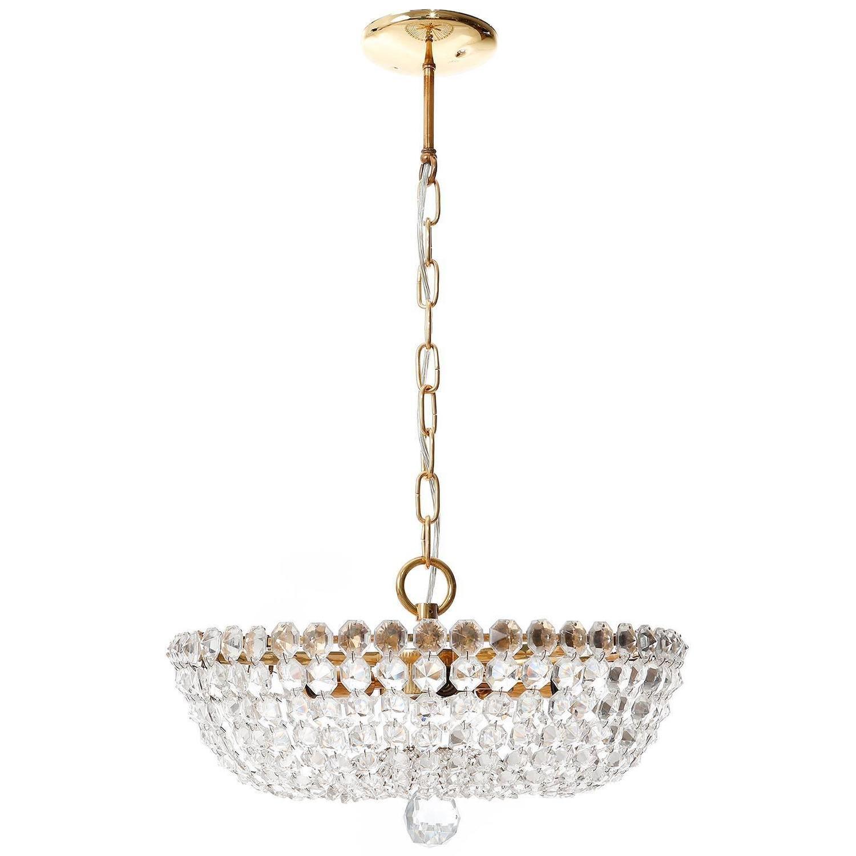 Lobmeyr pendant light chandelier no 6276 b brass crystal glass lobmeyr pendant light chandelier no 6276 b brass crystal glass austria 1960s for sale at 1stdibs aloadofball Choice Image